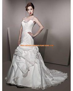 2013 Luxuriöse Brautmode aus Taft Meerjungfrau mit Schleppe und Perlen