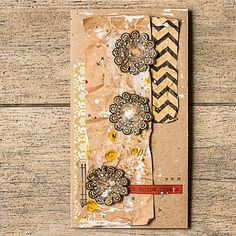BoBunny designer Maria Potapovich  created this card using Kraft paper and stamps. @mellpellmell