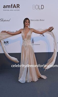 Alessandra Ambrosio AmfAR's 20th Cinema Against AIDS Gala Embroidered Dress Formal Dress.prom dresses,formal dresses,ball gown,homecoming dresses,party dress,evening dresses,sequin dresses,cocktail dresses,graduation dresses,formal gowns,prom gown,evening gown