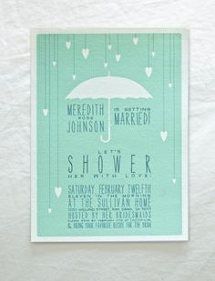 Wedding Shower invite in turquoise. So pretty.