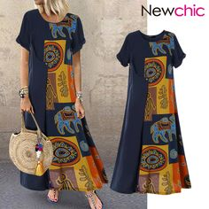 Cheap best O-NEWE Vintage Ethnic Print Patchwork Short Sleeve Plus Size Dress on Newchic, there is always a plus size print dresse suits you! Bohemian Print, Ethnic Print, Plus Size Maxi Dresses, Short Sleeve Dresses, Summer Dresses, Vestidos Vintage, Themed Outfits, My Outfit, The Dress