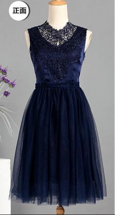 Navy Blue High Neck Floral Lace Top Short