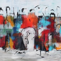 Abstract painting  multicolor. Acrylic on deep canvas.  100x100x4  Price: DKK 15.000