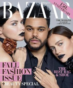 Supermodels Irina Shayk and Adriana Lima join singer The Weeknd for the September 2017 cover of Harper's Bazaar US. Photographed by Brigitte Lacombe, the trio wears designs from Saint Laurent Irina Shayk, Adriana Lima, Lds, Brigitte Lacombe, Harper's Bazaar, Zara, Carine Roitfeld, Fashion Cover, Fashion Music