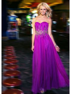 Magenta, Ombre Gown With Sweetheart Neckline