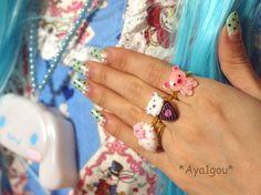 Kawaii kuma lolita bear ice cream cone ring by Aya1gou on Etsy, $3.50