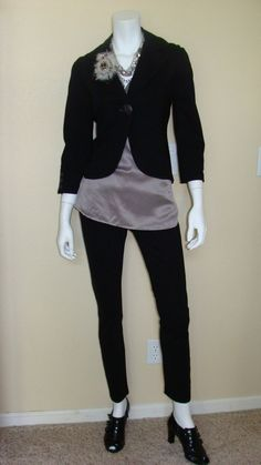 Daily Look: CAbi Fall 12 Spirit Blouse and Tuxedo Lean Trouser with our vintage Little Black Jacket and a great pair of patent oxfords.