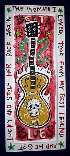 Box Guitar, Guitar Art, Band Posters, Quote Posters, Delta Blues, Hand Drawn Type, Blue Poster, Title Sequence, Mosaic Garden