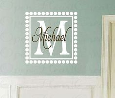 Monogram Wall Decal with Square Frame and by openheartcreations