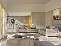 Sofá composable tapizado de tela de esquina TURNER by MOLTENI