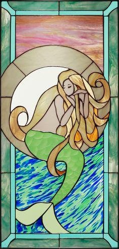 Glas-in-lood zeemeermin, prachtige kleurencombinatie