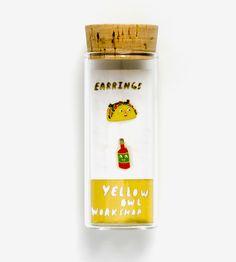 Taco & Hot Sauce Enamel Stud Earrings by Yellow Owl Workshop on Scoutmob
