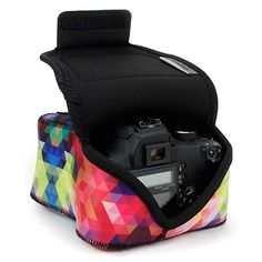 USA GEAR DSLR Camera Sleeve (Geometric) with Neoprene Protection, Holster Belt Loop and Accessory Storage - Compatible with Nikon Canon EOS Rebel Pentax and Camera Backpack, Camera Case, Slr Camera, Canon Eos Rebel, Nikon D3400, Usa Gear, Travel Supplies, Baby Car Seats, Belt