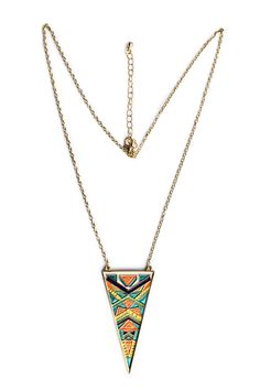 Enamel necklace with triangle plated pendant from Urbiana