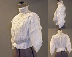 Antique Silk and Lace Blouse White Gibson Girl by daisyandstella