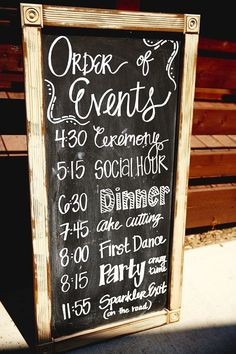 Enjoy this idea. Would customize to match my theme however I like that it gives guests an idea of what is to be expected and when! Would maybe do this on a fancy mirror.