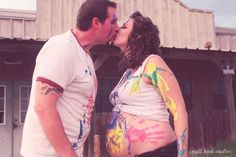 I want to do this, but not tell tom. I would love to get his expression on camera. maternity photo shoot!