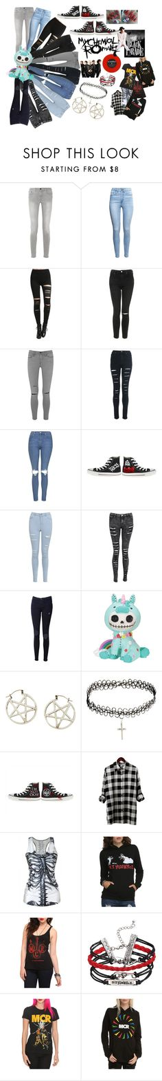 """""""My Chemical Romance outfit"""" by xadrenaline-revolutionx ❤ liked on Polyvore featuring Proenza Schouler, H&M, Topshop, Frame Denim, Miss Selfridge, Pamela Love, ASOS, Converse and Venom"""