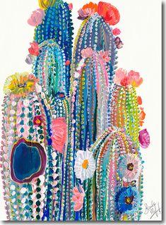 Desert Series VII, Starla Halfmann, oil, print, giclee, fine art, skyline, cacti, cactus