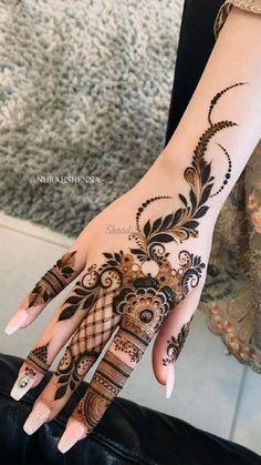 Pretty Henna Designs, Modern Henna Designs, Latest Henna Designs, Floral Henna Designs, Henna Tattoo Designs Simple, Finger Henna Designs, Mehndi Designs For Girls, Mehndi Design Photos, Back Hand Mehndi Designs