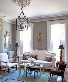 Love this living room with grey walls