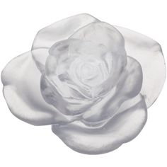 Daum Rose Passion White Flower Sculpture (1,025 BAM) ❤ liked on Polyvore featuring home, home decor, white, white sculpture, rose home decor, daum, white home accessories and white home decor