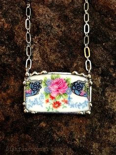 Broken china jewelry antique rose porcelain necklace made from a broken plate