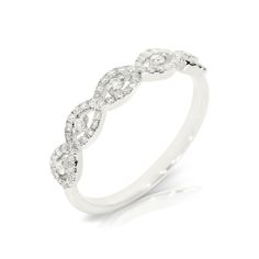 Tripel infinity shape designed diamond ring, made of 14K white goldWe can make this ring in any size or gold color on your requestPlease keep in mind, that customization might take up to 7 business days. This ring will be sent in an elegant gift box