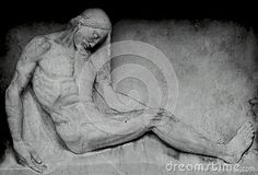 Shot in black and white, detail on an sculpture representing the figure of christ placed at Sant Gervasi cemetery, set in Sarria, Barcelona, Catalunya, Catalonia, España, Spain, Europa, Europe