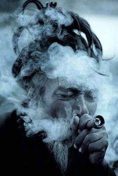 Tantric yogi smoking Ganja