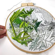 jessdewahlsIt's a jungle out there. Take care of yourself. Hand Embroidery Stitches, Embroidery Techniques, Cross Stitch Embroidery, Embroidery Patterns, Contemporary Embroidery, Modern Embroidery, Beaded Embroidery, Thread Painting, Diy Arts And Crafts