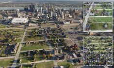 The tiny urban island of downtown Detroit, lost in the wide open spaces of a depopulated city: Skyscrapers give way to scrubland, farms and countryside in amazing aerial shots