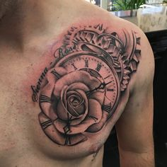 Clock rose time chest tattoo