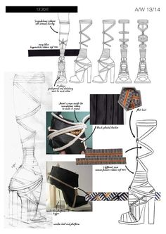 Fashion Portfolio - footwear design sketches, fabric manipulation & development - layout; fashion sketchbook // Geraldine Delemme