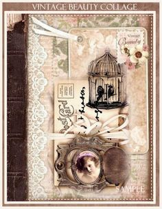 Vintage Beauty Collage Shabby Chic Journal Cover U Print Digital Vintage Beauty Collage Shabby Chic Tagebuch Cover U Print Digital - Bilmece Shabby Chic Sofa, Vintage Shabby Chic, Shabby Chic Homes, Vintage Beauty, Shabby Chic Decor, Pond Crafts, Shabby Chic Journal, Vintage Scrapbook, Scrapbook Page Layouts
