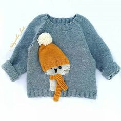 Baby Boy Knitting Patterns, Baby Sweater Knitting Pattern, Knitting For Kids, Crochet For Kids, Crochet Baby, Hand Knitting, Baby Blue Sweater, Baby Sweaters, Pull Bebe