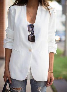 theory white one-button blazer