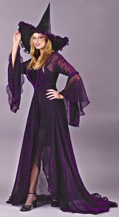 Witch Halloween Costume (add purple lipstick, web tights, and netting to the hat for a little different look). Witch Costume Adult, Deer Costume, Witch Costumes, Adult Costumes, Turtle Costumes, Cowgirl Costume, Witch Hats, Woman Costumes, Pirate Costumes