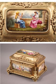 A rectangular casket with its key in gilt bronze on four shell feet underlined with scrolling foliage. The lid and body of the box are decorated with five porcelain plates...