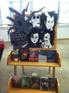 Tim Burton Halloween library display