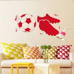 Find More Wall Stickers Information about Wall Sticker Gym Shoes Wallpaper Sport Football Soccer Vinyl Decal Mural Decor,High Quality decorate shoe box,China shoes futsal Suppliers, Cheap shoes low from Naughty Dog Wall Decals Shop Store on Aliexpress.com