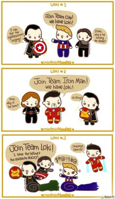 Here's my whole Loki Civil War doodle series :)<<<AWWW!!! Credit to the artist!