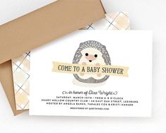 A darling baby hedgehog holds a banner inviting guests to your baby shower. The colors are a gender neutral yellow and gray, so they work for a boy or