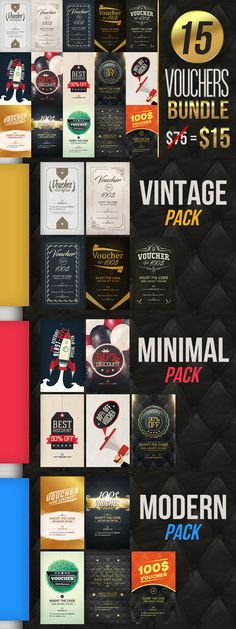 Vouchers Bundle: 15 Amazing Designs – just $15