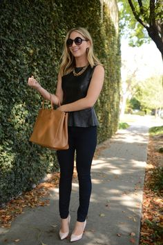 Emily Shuman of Cupcakes and Cashmere - I would style this outfit with a faux black leather peplum sleeveless top, black skinnies, and a faux leather camel tote and nude flats Pastel Outfit, Look Fashion, Autumn Fashion, Womens Fashion, Street Fashion, Fashion Outfits, Outfits Pantalon Negro, Peplum Top Outfits, Leather Peplum Tops