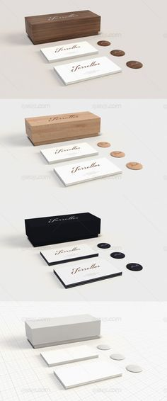 A mini stationery mock up with 3 kind of material : 2 woods