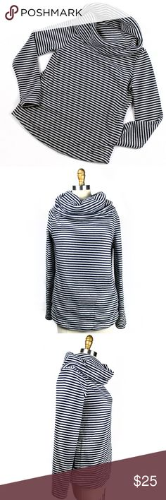 """Tommy Hilfiger Cowl Neck Fleece Striped Sweater Tommy Hilfiger Cowl Neck Fleece Striped Sweater  - 60% cotton 40% polyester - Fleece lining - Two front pockets - Large cowl neckline - Navy and white stripes - Excellent like new condition, no flaws - 19"""" armpit to armpit, 24"""" length, 24"""" sleeve length  171228 Tommy Hilfiger Sweaters Cowl & Turtlenecks"""