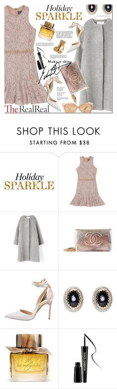"""""""Holiday Sparkle With The RealReal: Contest Entry"""" by cookienguyen ❤ liked on Polyvore featuring Lanvin, Chanel, Manolo Blahnik, Givenchy, Burberry, Dolce&Gabbana and Linda Farrow"""