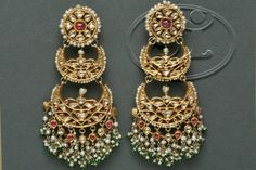Double chand balis in antique finishing Indian Jewelry Earrings, Jewelry Design Earrings, Gold Earrings Designs, India Jewelry, Wedding Jewelry, Rajputi Jewellery, Jewelry Patterns, Antique Jewelry, Jewelry Collection