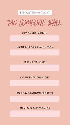Tag someone/bff — maddy corbin Ideas De Instagram Story, Instagram Story Questions, Instagram Story Template, Insta Ideas, Instagram Templates, Fun Questions To Ask, This Or That Questions, Deep Questions, Foto Instagram